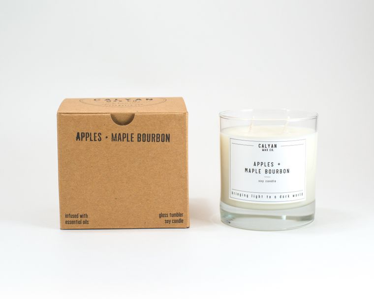 Glass Tumbler Soy Candle - Apples / Maple Bourbon