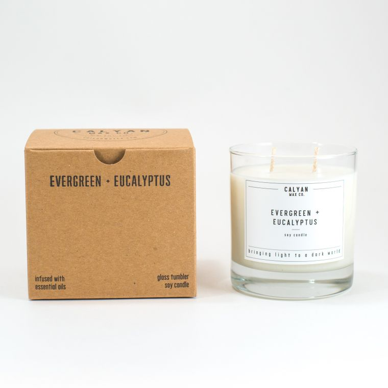 Glass Tumbler Soy Candle - Evergreen / Eucalyptus