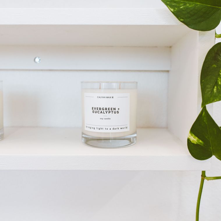 Glass Tumbler Soy Candle - Evergreen / Eucalyptus