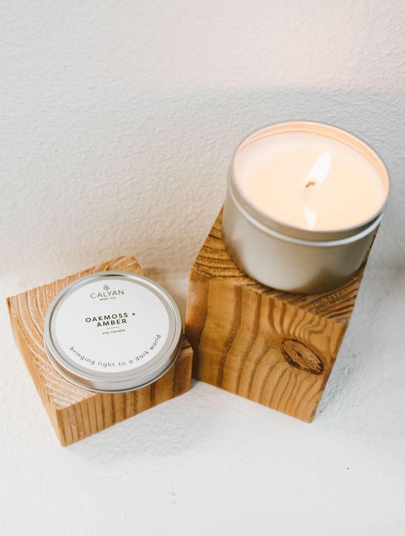 Metal Tin Soy Candle - Oakmoss / Amber