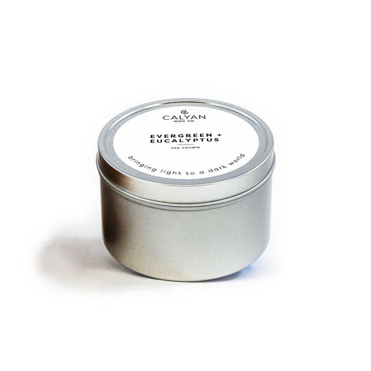 Metal Tin Soy Candle - Evergreen / Eucalyptus