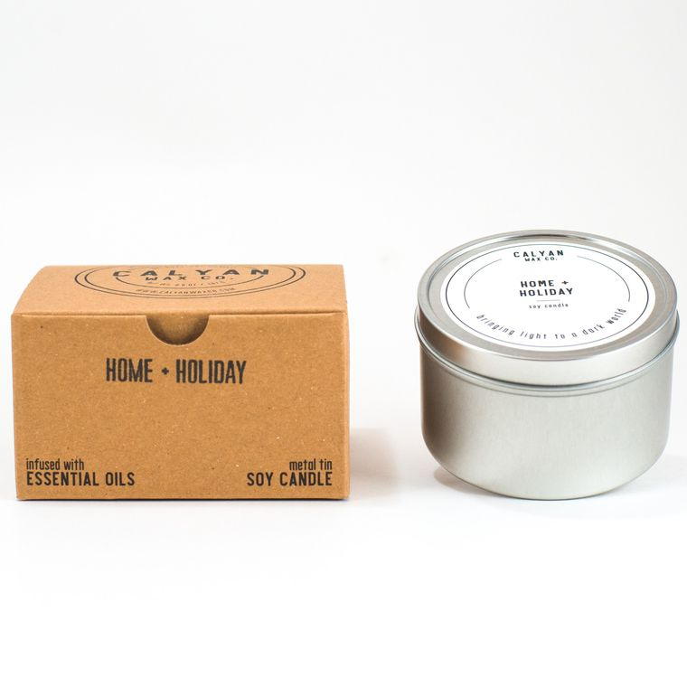 Metal Tin Soy Candle - Home/Holiday