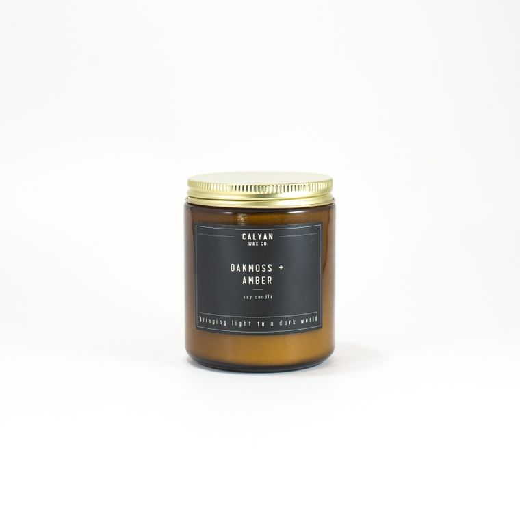 Amber Jar Soy Candle - Oakmoss/Amber