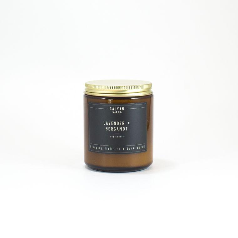 Amber Jar Soy Candle - Lavender/Bergamot