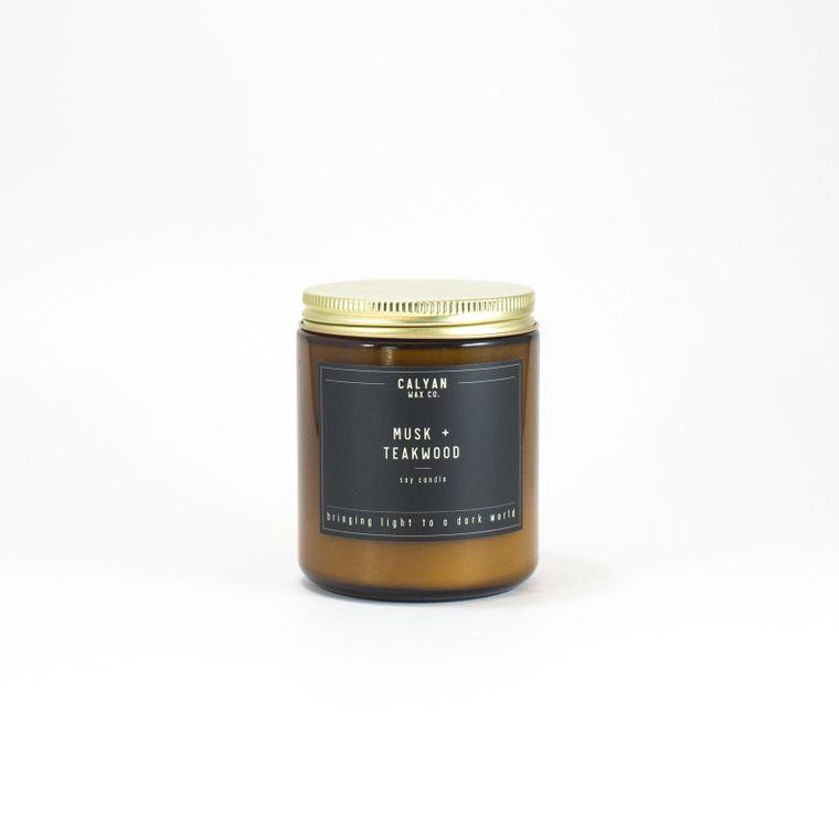 Amber Jar Soy Candle - Musk/Teakwood