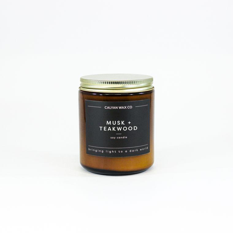 Amber Jar Soy Candle - Musk / Teakwood