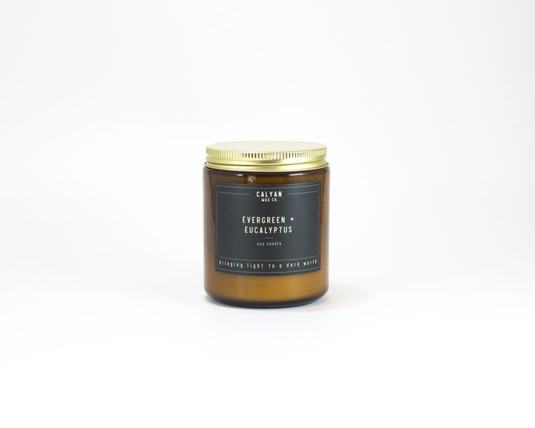 Amber Jar Soy Candle - Evergreen/ Eucalyptus
