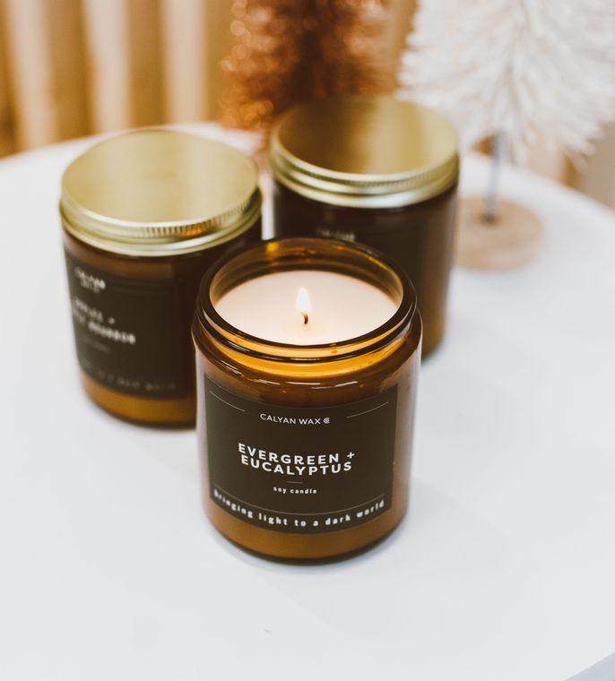 Amber Jar Soy Candle - Evergreen / Eucalyptus