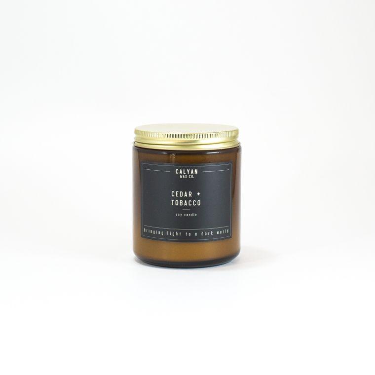 Amber Jar Soy Candle - Cedar/Tobacco