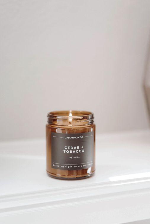Amber Jar Soy Candle - Cedar / Tobacco