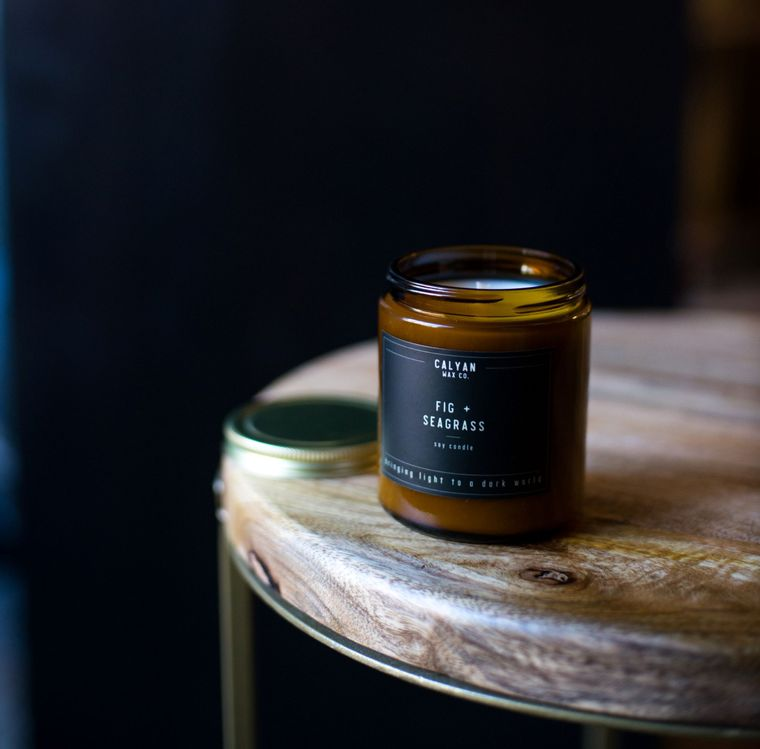 Amber Jar Soy Candle - Fig / Seagrass