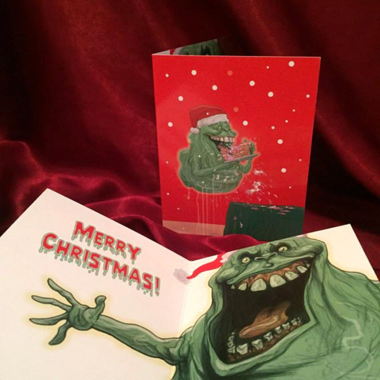 Slimer GHOSTBUSTERS Christmas Card