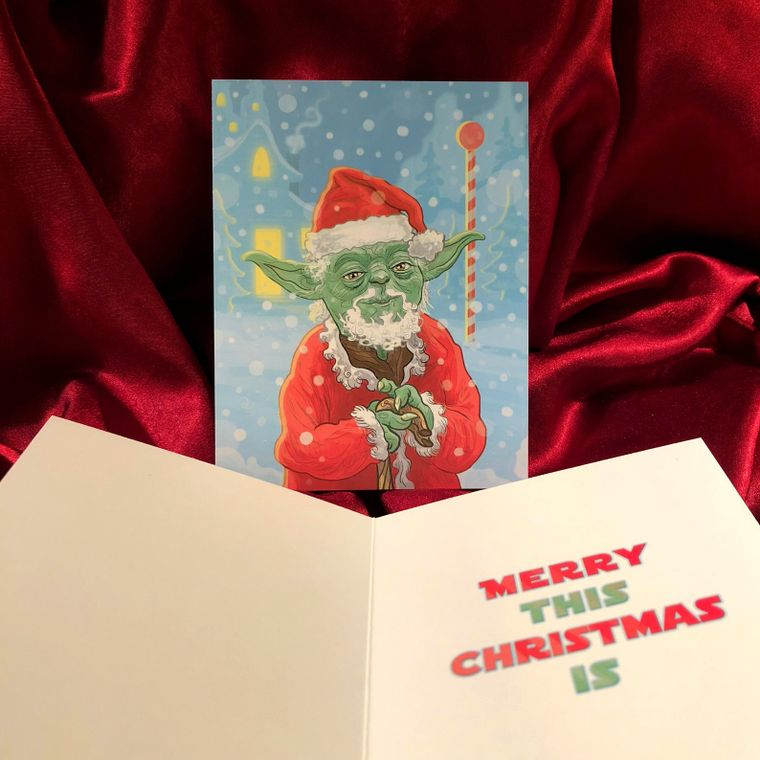 Yoda Claus STAR WARS Christmas Card