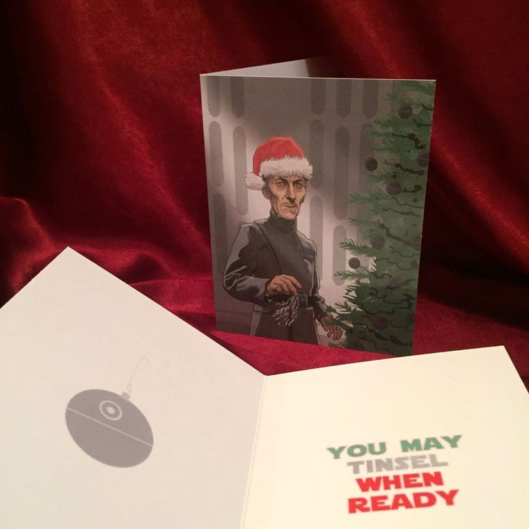 Grand Moff Tarkin Tinsel STAR WARS Christmas Card