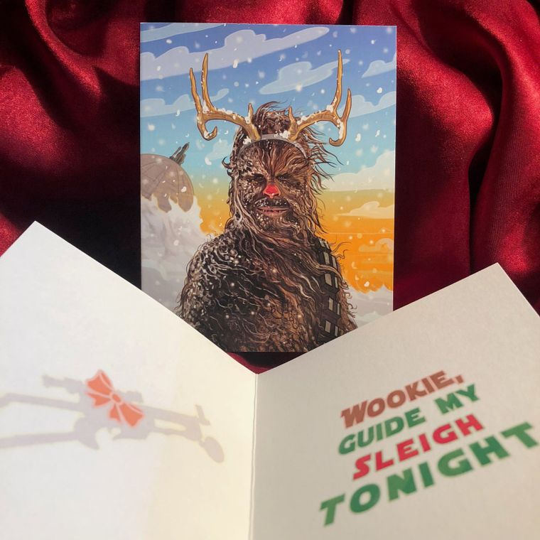 Chewbacca Red Nosed Reindeer STAR WARS Christmas Card