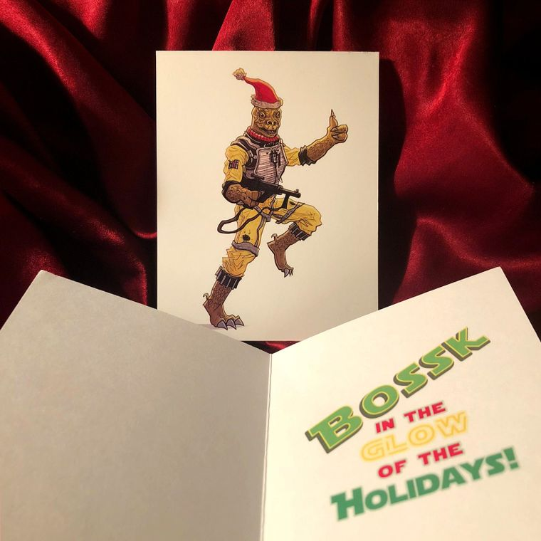 Bossk the Bounty Hunter STAR WARS Christmas Card