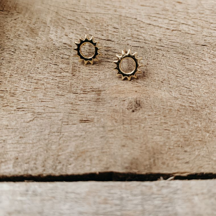 Tiny Brass Circle Sunshine Boho Stud Earrings, Minimalist, Sunburst - Stud Collection