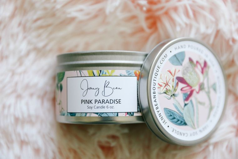Pink Paradise Soy Travel Tin Candle