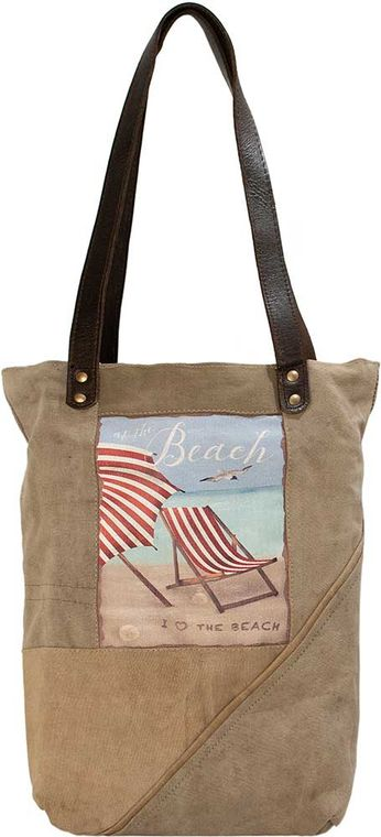 At The Beach  Recycled Military Tent Tote