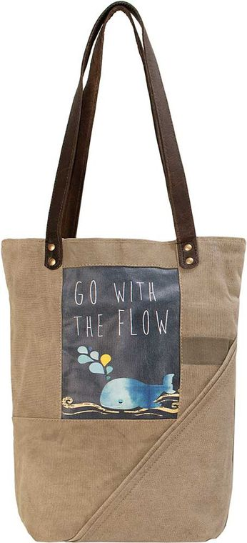 Go With The Flow Whale  Recycled Military Tent Tote