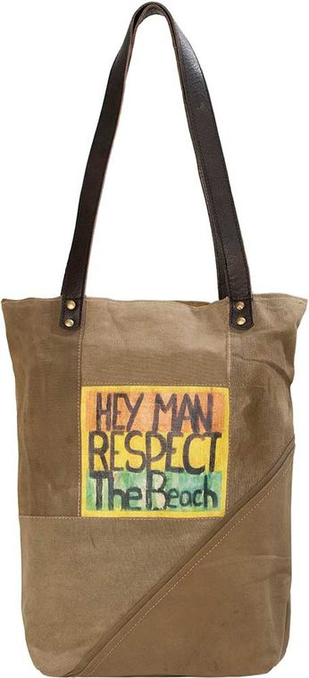 Hey Man  Recycled Military Tent Tote