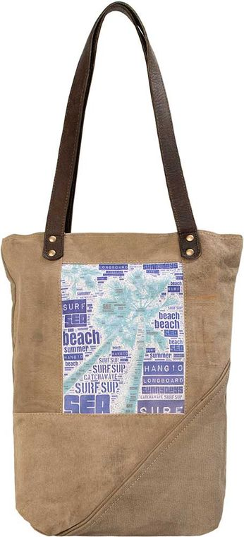 Palm Tree Recycled Military Tent Tote