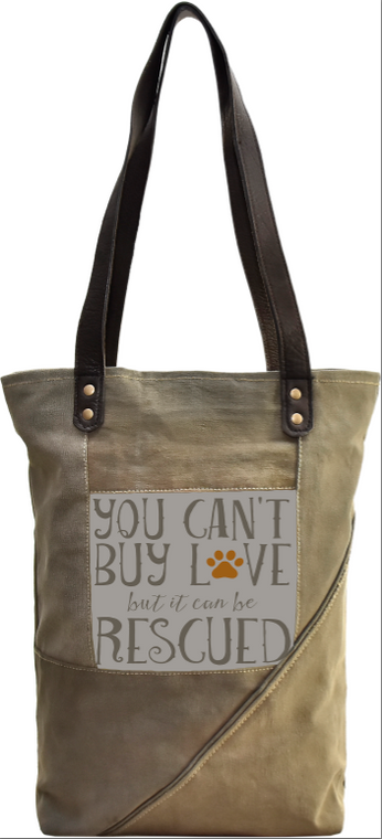 Rescue Dog Recycled Military Tent Tote
