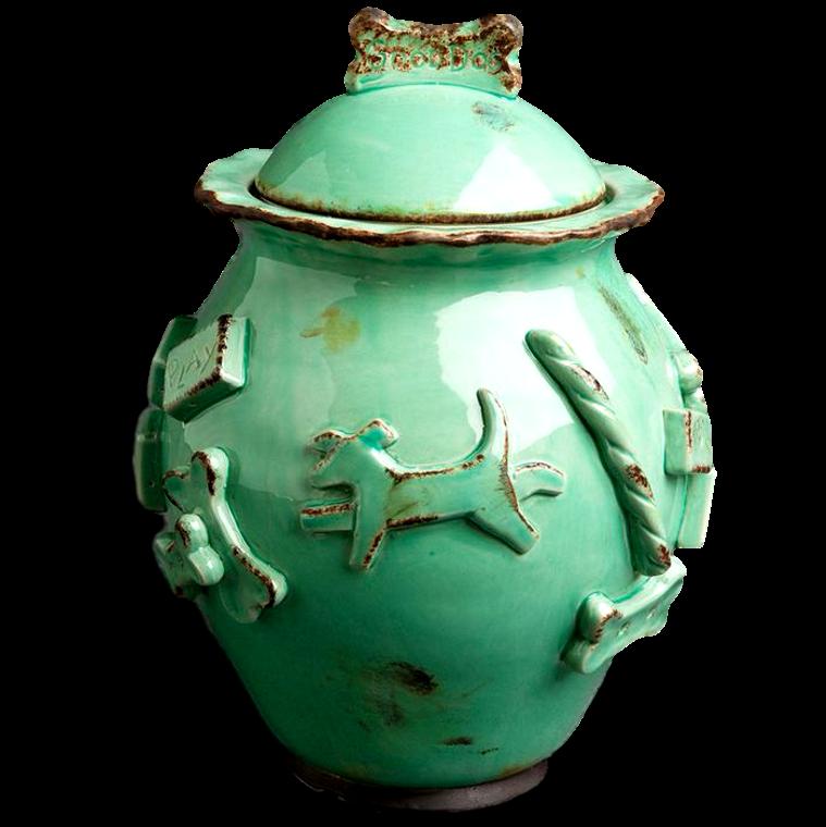 Dog Treat Jar - Aqua/Green