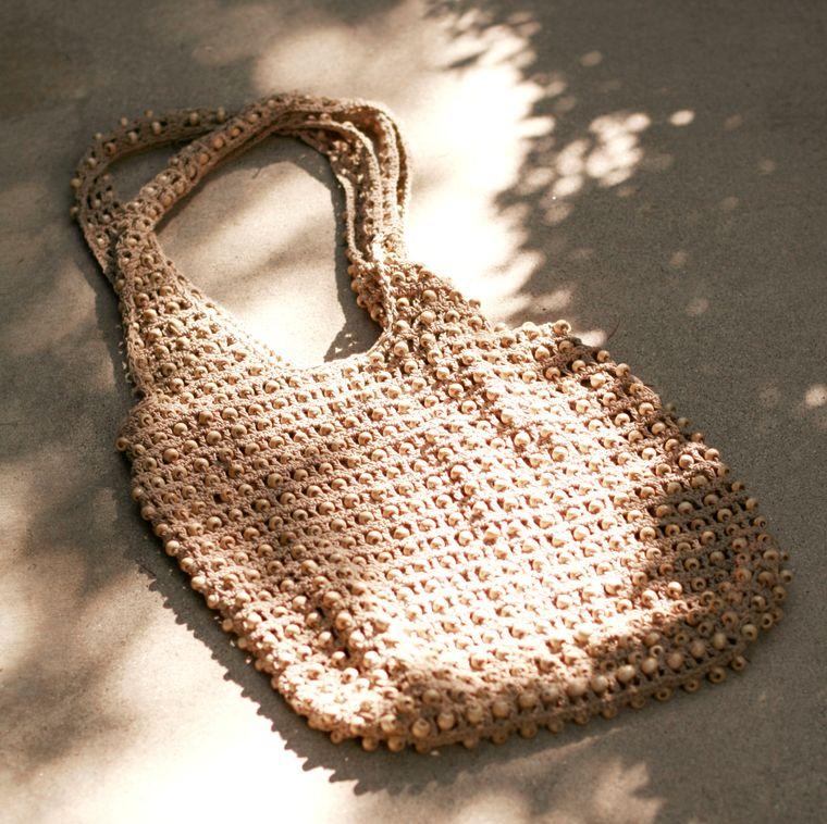 Karma Beads Crochet Bag, in Tan (1-3 days)