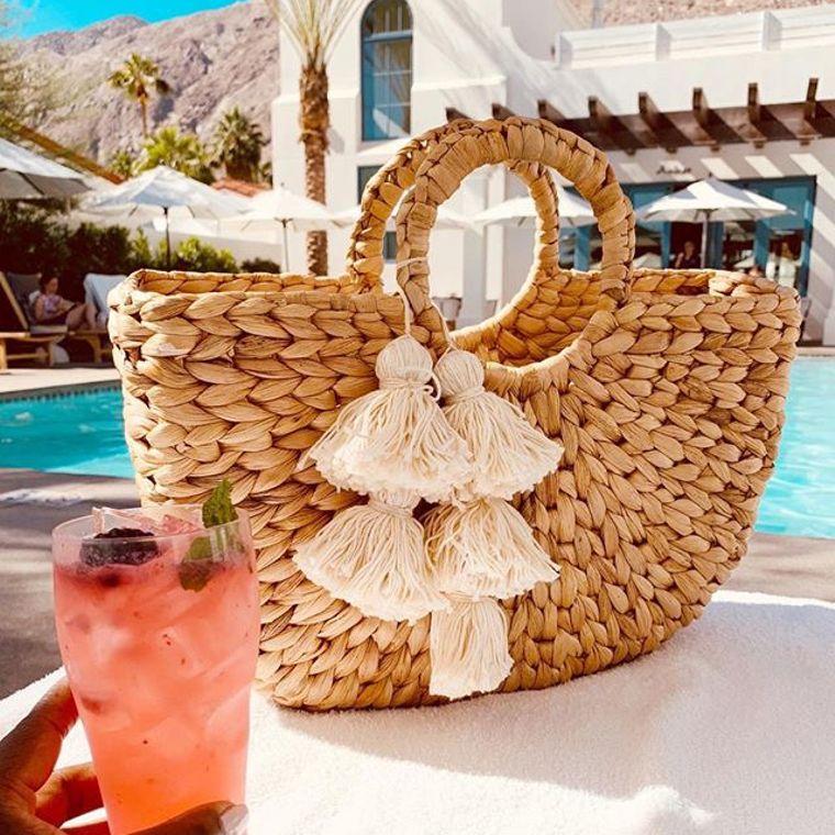 Anaya Hyacinth Bag with White Tassels