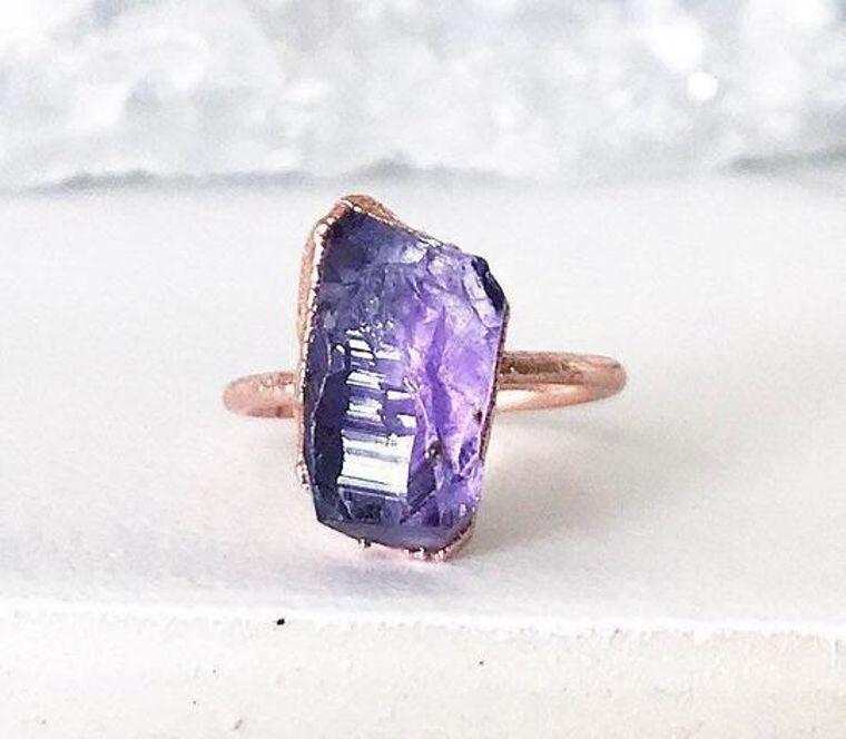 Chunky Raw Amethyst Ring