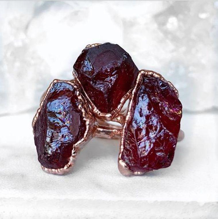 Chunky Raw Garnet Ring