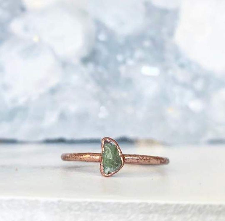 Tiny Peridot Stacking Ring