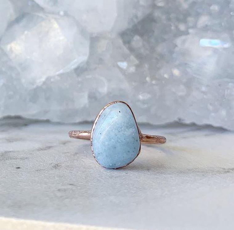 Polished Aquamarine Stone Ring