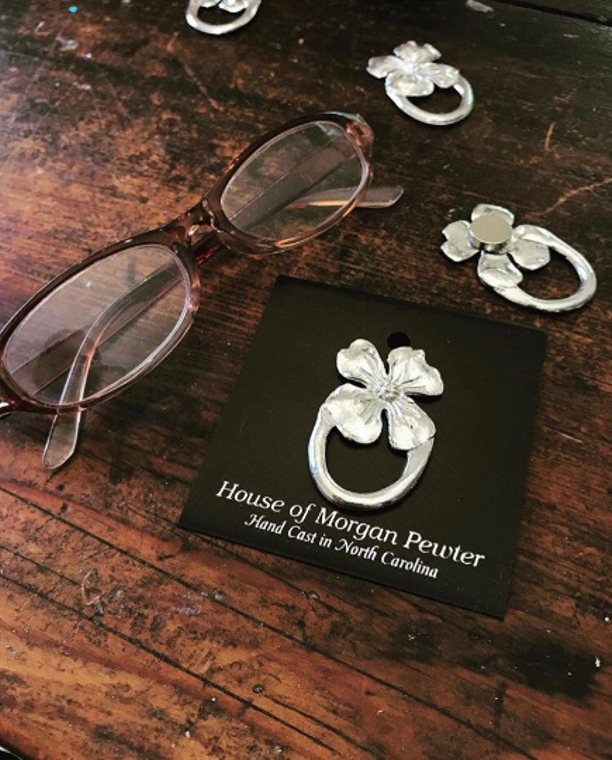 Dogwood Flower Religious Fine Pewter Eyeglass Sunglass Badge Holder Magnetic