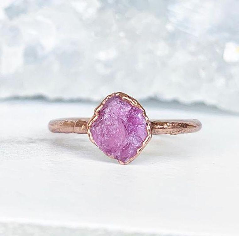Tiny Raw Pink Tourmaline Stacking Ring