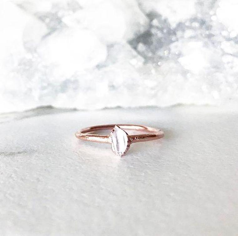 Tiny Herkimer Diamond Stacking Ring