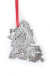 Louisiana LA State Outline Symbols Christmas Holiday Ornament Pewter