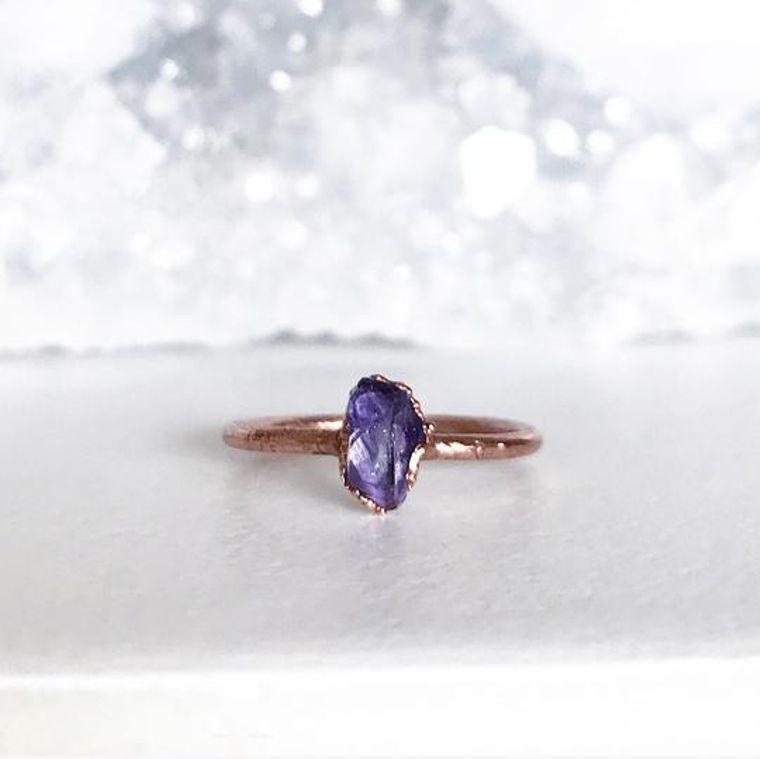 Tiny Raw Amethyst Stacking Ring