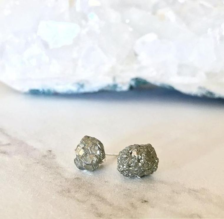 Raw Pyrite Stud Earrings