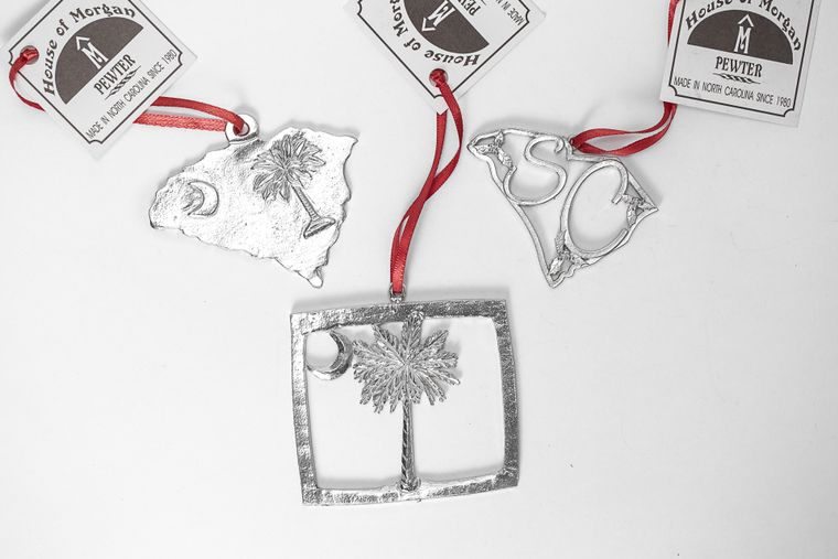USA Handcrafted South Carolina SC Flag Christmas Ornament Pewter Gift Set
