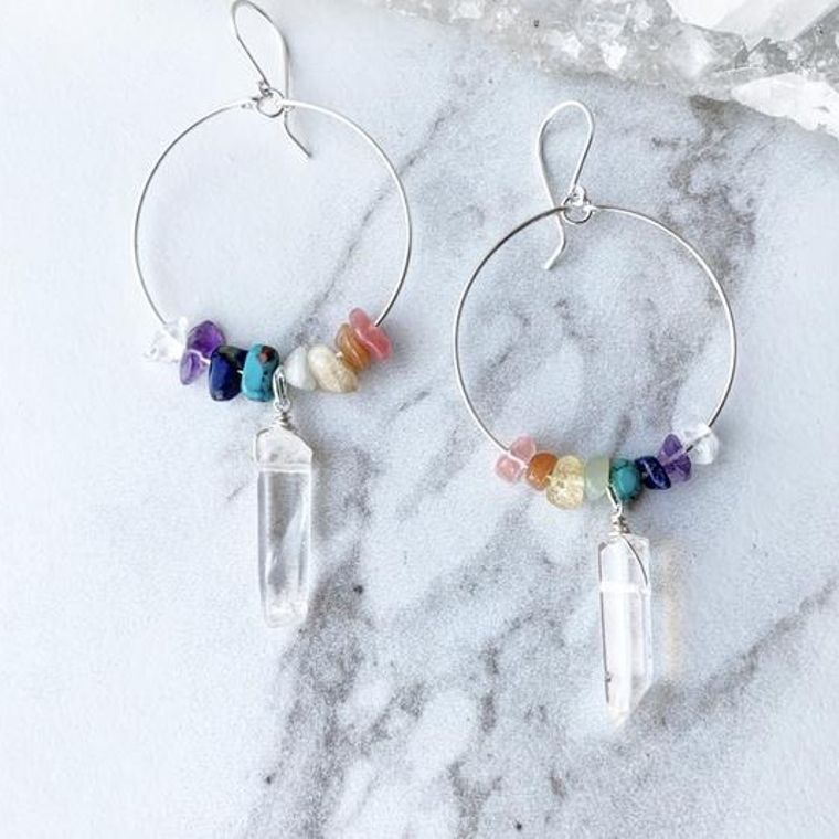 Sterling Silver Chakra Stone Hoops