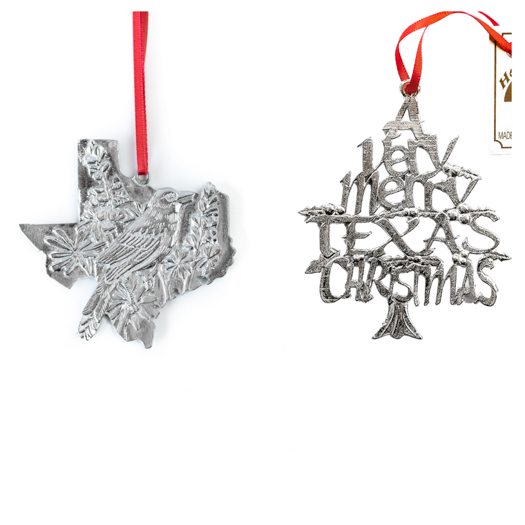 Handmade Texas TX Home State Christmas Ornament Gift Set of Two Designs