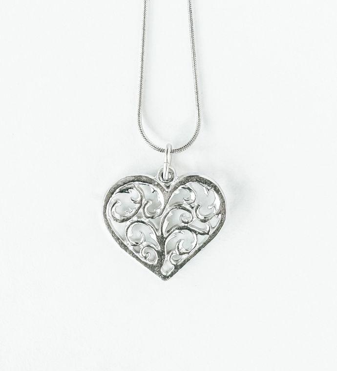 Handmade Valentine's Day Gift- Necklace Jewelry Gift- Swirly Heart