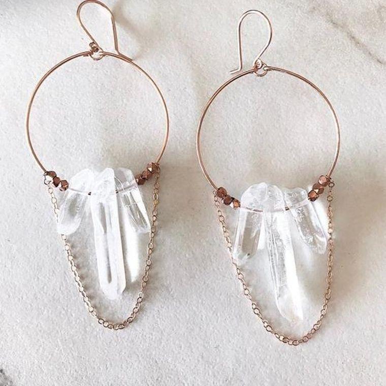 Crystal Quartz Statement Earrings in Gold
