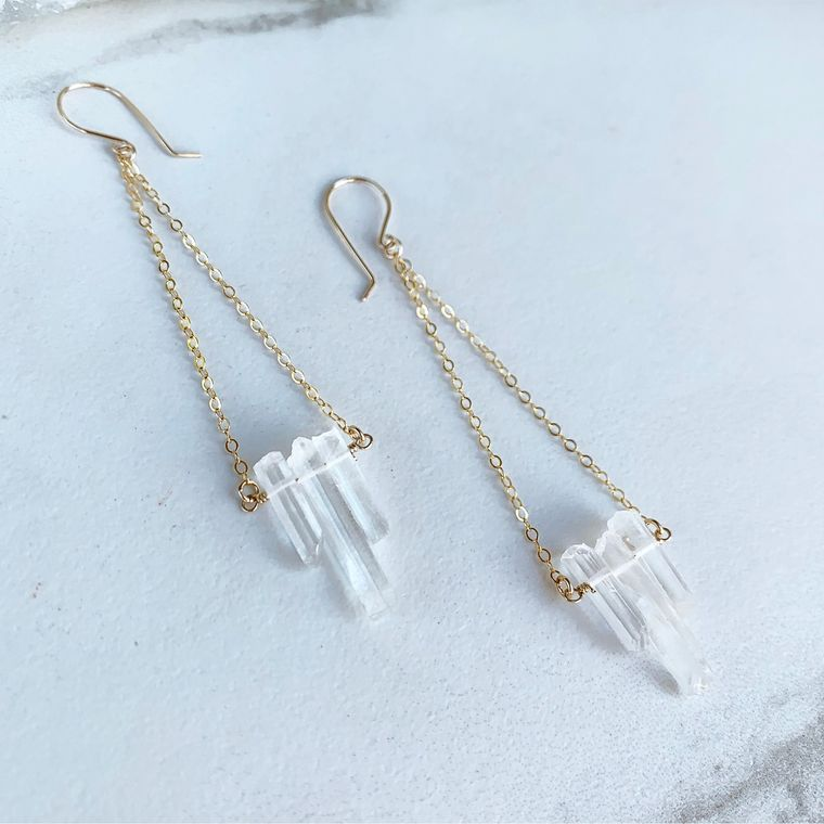 14k Gold Filled Delicate Quartz Dangle Earrings