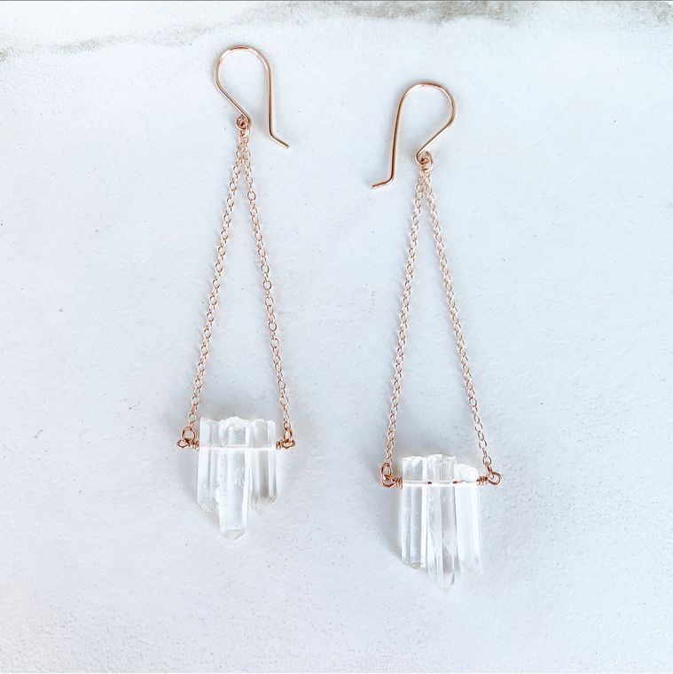 Delicate Quartz Dangle Earrings in Rose Gold