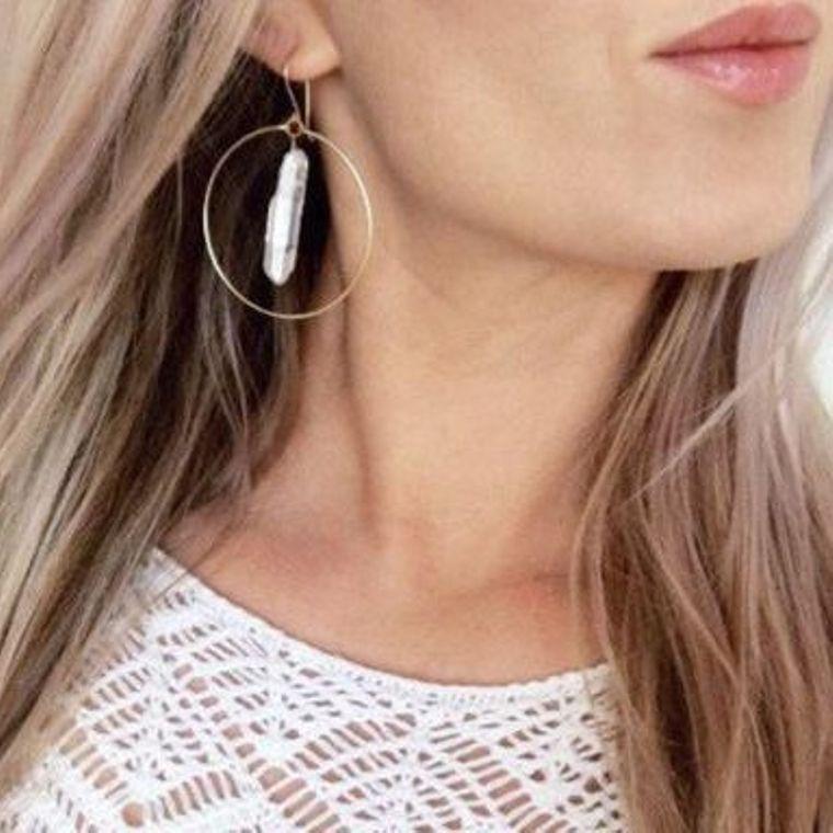 Crystal Quartz Hoop Earrings in Rose Gold