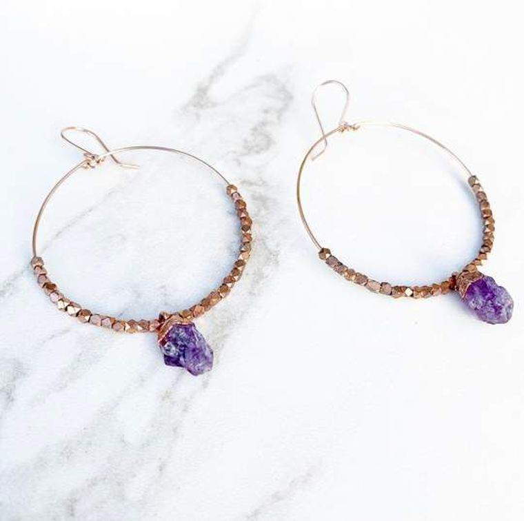 14k Rose Gold Amethyst Statement Hoops
