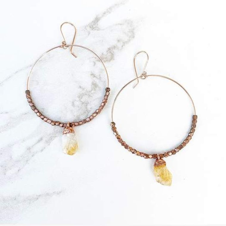 14k Rose Gold Citrine Statement Hoops